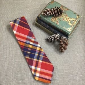BROOKS BROTHERS Red Cotton Madras Plaid Tie
