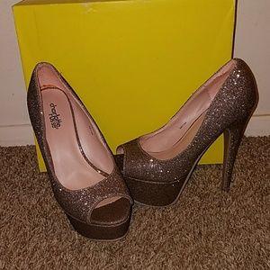 Gold glitter high heels