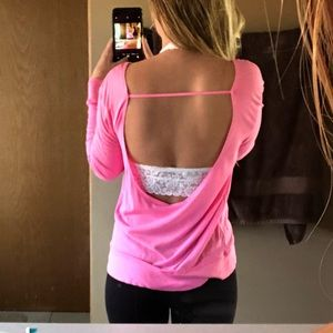 VS PINK Open Back Long Sleeve Top