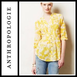Anthropologie Maeve Pintucked button down