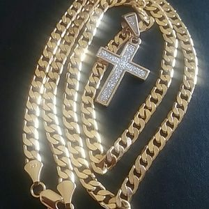 14K Gold Cuban Chain and Cross Pendant!