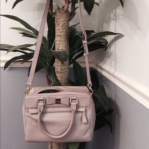 Kate Spade bow-front soft leather bag, nwot. Gray.