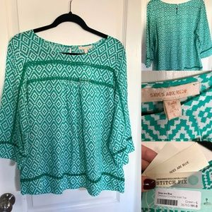 NWT 'Skies are Blue' Delacour Crochet Inset Top, L