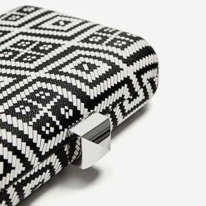 Zara Geometric Print Minaudière Clutch NEW