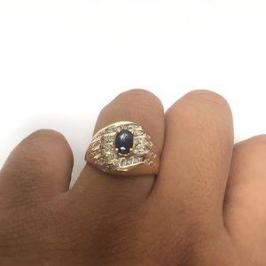 10K Yellow Gold Diamond And Sapphire Ring