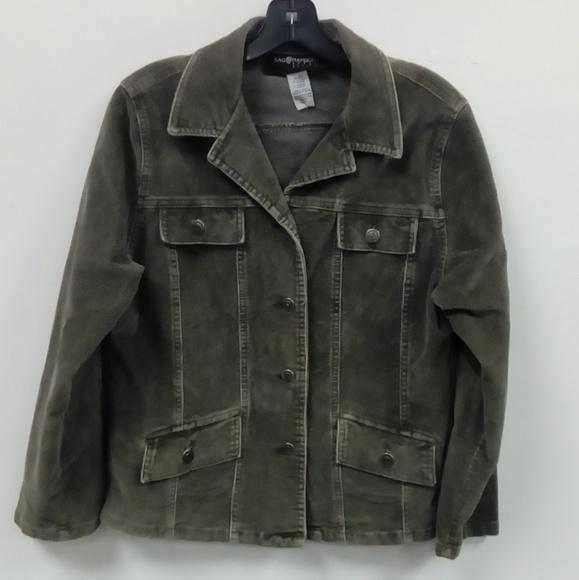 Sag Harbor Jackets & Blazers - Sag Harbor Green Cord Jacket Sz PETITE SMALL