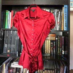 Bebe Red Silk Blouse