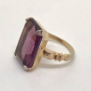 🆕Vintage Emerald-Cut Purple Glass Stone Ring