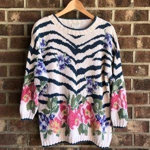 Vintage Floral and Zebra Patterned Sweater