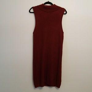 Dark red sweater dress