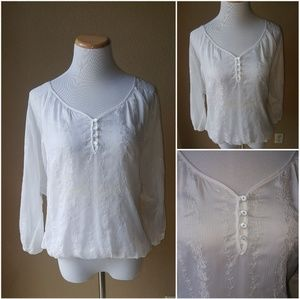 Sheer Fluted Top M EUC