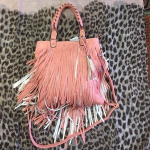 Handbags - NWT PEACH colored fringe bag w/off white accents