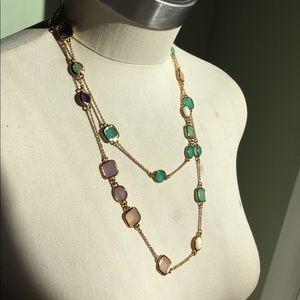 KATE SPADE long gold gem necklace