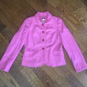 J Crew Pink Wool Herringbone Bella Blazer, Sz 12