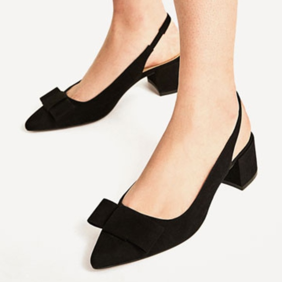 Zara Heels backless Shoes Bow NEW. M 59ea449236d594a5b1003399