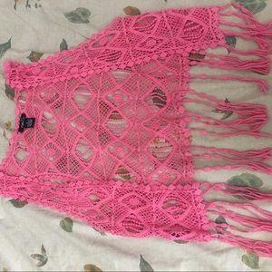 Pink Lace Crop Jacket