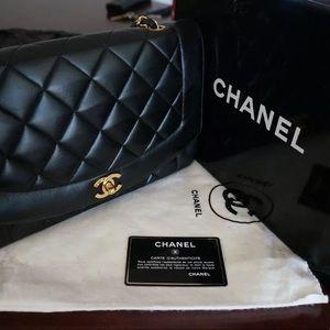 Chanel vintage classic black lamb skin leather