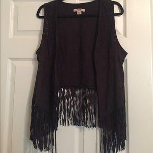 Black suede fringe vest