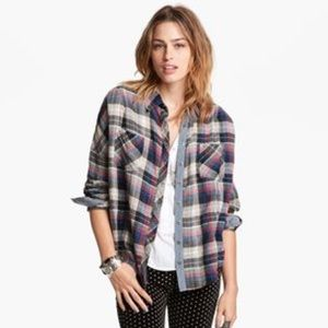Free People Chambray Trim Plaid Button Up Shirt