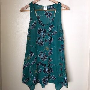 Cabi Floral Green Sleeveless Blouse Medium