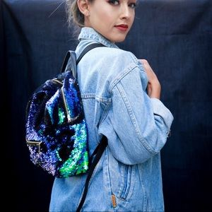Other - Blue Green Black Mermaid Sequin Sparkly Backpack