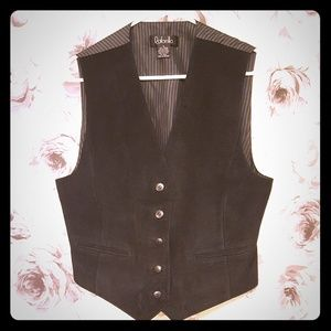Black Genuine Suede Vest