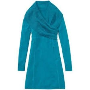 Athleta Sochi Sweater Dress Teal Oversized Collar