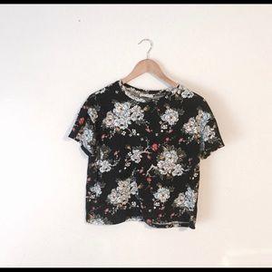 Zara Floral T Shirt Crop