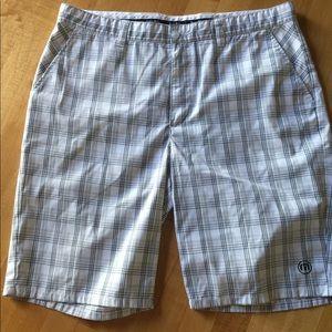 Men's white and gray golf shorts