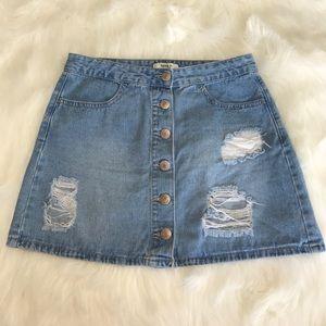 Distressed Denim Skirt Med