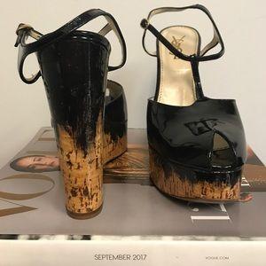Yves Saint Laurent Patent Leather Peep-Toe Wedges