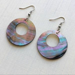 Jewelry - Mother Of Pearl Shell Circle Hoop Silver Earrings