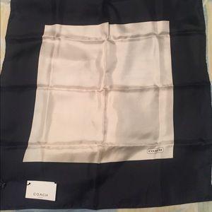 Black and beige Coach silk scarf