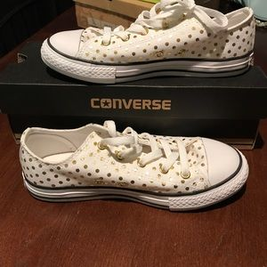 White and gold polka dot converse sneakers