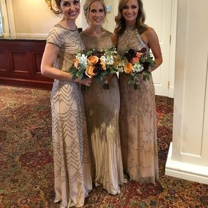 Adrianna Papell short sleeve bluson beaded gown