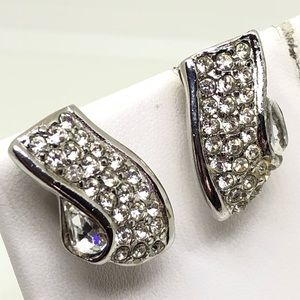 🆕Vintage Givenchy Rhinestone Ribbon Earrings