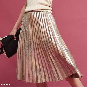Like New Anthropologie Pleated Metallic Skirt