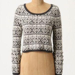 Anthropologie Moth Fair Isle Cropped Sweater