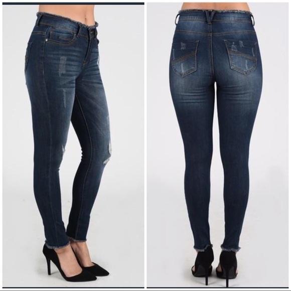 Nine Planet Denim - Nine Planet Frayed Waist/Hem Skinny Denim Jeans