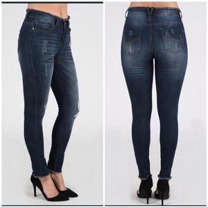 Nine Planet Jeans - Nine Planet Frayed Waist/Hem Skinny Denim Jeans