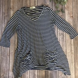 Tops - Navy blue striped shirt
