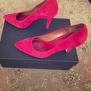 Banana Republic red suede pumps