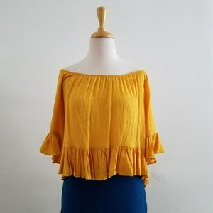Ambiance Yellow Flowy Crop Top