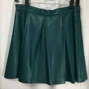 French Connection Pleated Teal Faux Leather Skirt