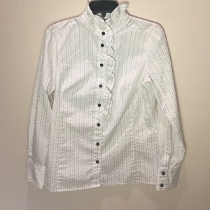 Striped Button Down With Victorian Collar