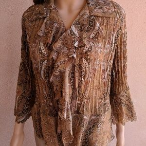 Brown ruffled blouse