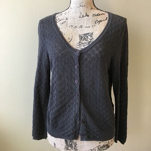 Anthropologie pointelle brown cardigan