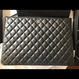 Chanel Black quilted Cavier O case clutch large
