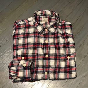 J Crew Heritage Navy Plaid Slim Flannel Shirt