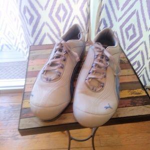 White & Blue Puma sneakers